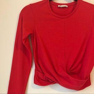 Zara Red Long Sleeve Twist Front Crop Top